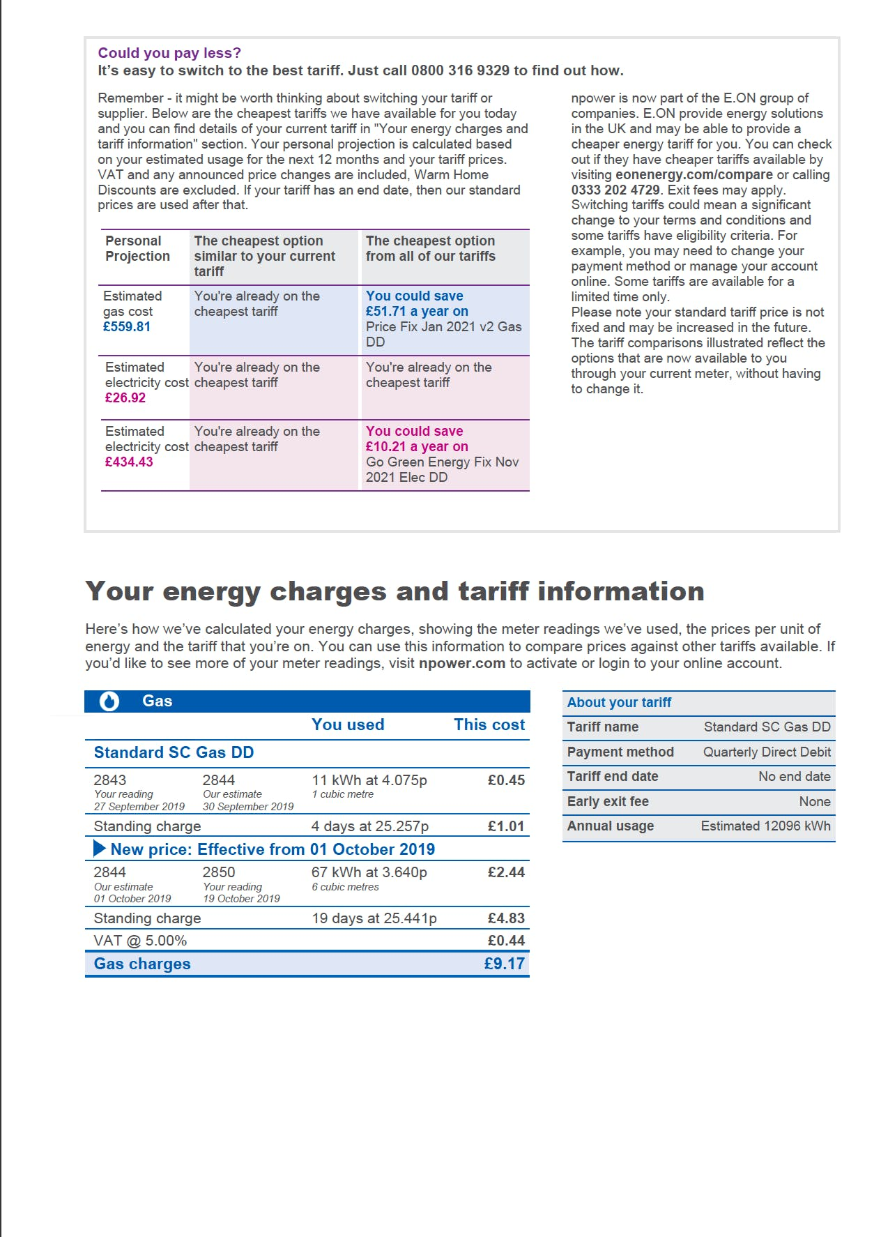 npower energy bill page 3