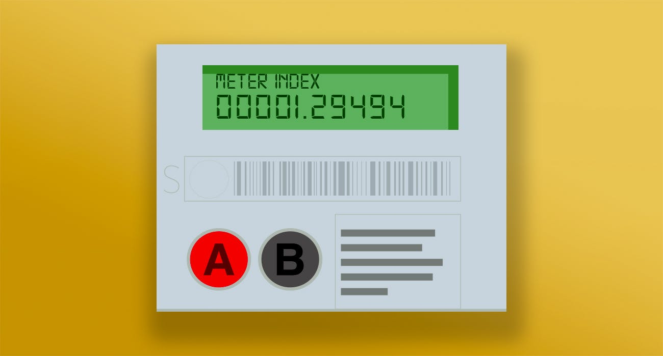 Smart meter with A and B buttons